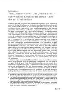 """Vom """"Memorisieren"""" zur """"Information"""" – Schreibendes Lesen in der ersten Hälfte des 18. Jahrhunderts"""
