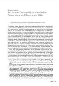Buch- und Zeitungslektüre badischer Bäuerinnen und Bauern um 1900