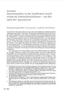 Massenmedien in der ländlichen Gesellschaft im Nationalsozialismus – am Beispiel der Agrarpresse