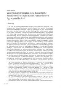 Vererbungsstrategien und bäuerliche Familienwirtschaft in der vormodernen Agrargesellschaft