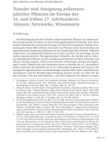 Transfer und Aneignung außereuropäischer Pflanzen im Europa des 16. und frühen 17. Jahrhunderts: Akteure, Netzwerke, Wissensorte