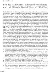 Lob des Handwerks: Wissenstheorie heute und bei Albrecht Daniel Thaer (1752-1828)