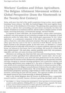 Workers' Gardens and Urban Agriculture. The Belgian Allotment Movement within a Global Perspective (from the Nineteenth to the Twenty-first Century)