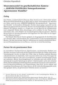 "Museumswandel im gesellschaftlichen Kontext – ""BARNIM PANORAMA Naturparkzentrum · Agrarmuseum Wandlitz"""
