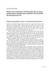 Offene und verschleierte Widerstandsformen in Agrargesellschaften: Banditentum, Rebellion und informelle Beziehungsnetzwerke