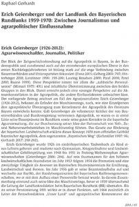 Erich Geiersberger und der Landfunk des Bayerischen Rundfunks 1959-1970: Zwischen Journalismus und agrarpolitischer Einflussnahme