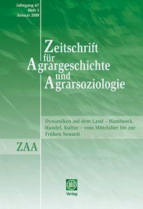 Zeitschrift für Agrargeschichte und Agrarsoziologie 1/2019