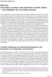 Editorial: Dynamiken auf dem Land: Handwerk, Handel, Kultur – vom Mittelalter bis zur Frühen Neuzeit