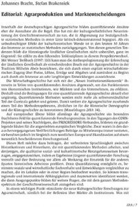 Editorial: Agrarproduktion und Marktentscheidungen (PDF Download)