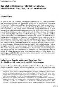 Der adelige Gutsbesitzer als Getreidehändler. Rheinland und Westfalen, 18.-19. Jahrhundert