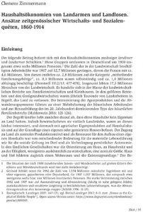 Haushaltsökonomien von Landarmen und Landlosen. Ansätze zeitgenössischer Wirtschafts- und Sozialenquêten, 1860-1914