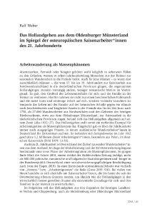 Das Hollandgehen aus dem Oldenburger Münsterland im Spiegel der osteuropäischen Saisonarbeiter*innen des 21. Jahrhunderts