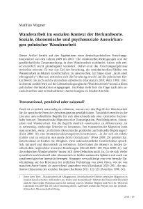Wanderarbeit im sozialen Kontext der Herkunftsorte. Soziale, ökonomische und psychosoziale Auswirkungen polnischer Wanderarbeit